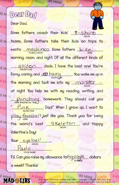 Mad Lib for Dad