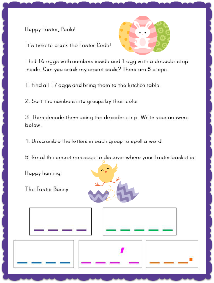 Easter Egg Hunt Code Letter